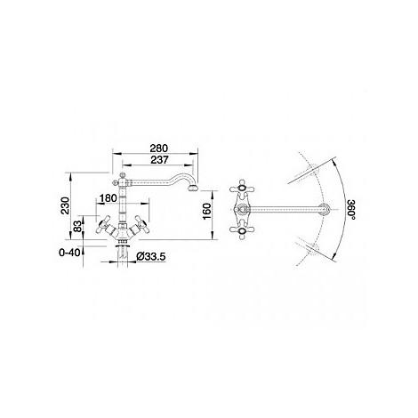 1512590 tera ottone satinato blanco miscelatore