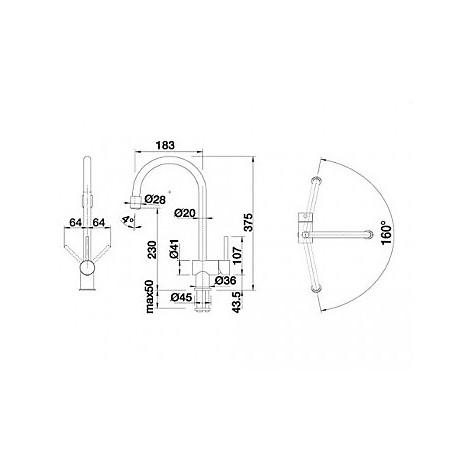 1512768 filo-s blanco miscelatore antracite silgranit