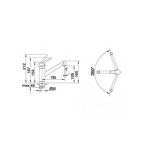 1512911 actis blanco miscelatore antracite silgranit / cromato