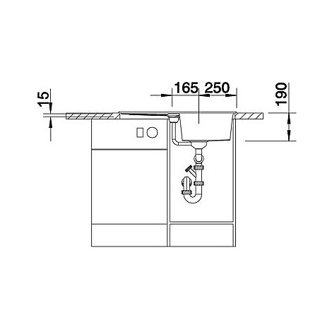 1513186 metra 45 s blanco lavello 78x50 1 vasca reversibile silgranit alumetallic