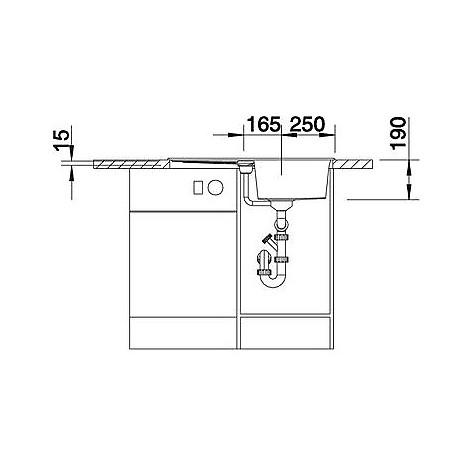 1513187 metra 45 s bianco blanco lavello 78x50 1 vasca reversibile silgranit