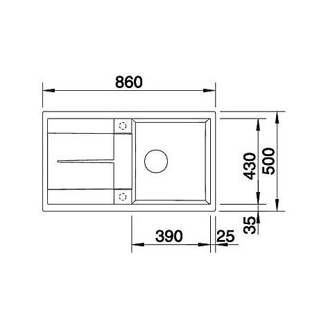 1513206 metra 5 s jasmine blanco lavello 86x50 1 vasca reversibile silgranit