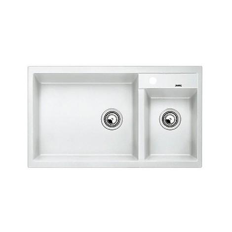 1513269 metra 9 bianco blanco lavello 86x50 2 vasche senza sgocciolatoio silgranit