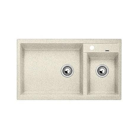 1513271 metra 9 sabbia blanco lavello 86x50 2 vasche senza sgocciolatoio silgranit