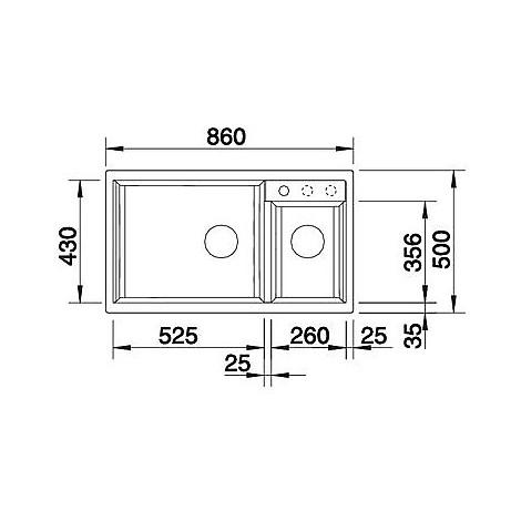 1513273 metra 9 antracite blanco lavello 86x50 2 vasche senza sgocciolatoio silgranit