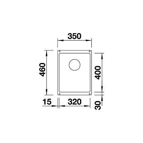 1513403 subline 320-u jasmine blanco lavello 35x46 1 vasca senza sgocciolatoio silgranit sottotop