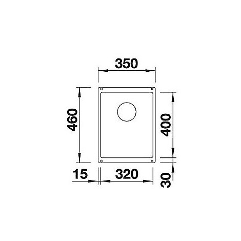 1513407 subline 320-u blanco lavello 35x46 1 vasca senza sgocciolatoio silgranit alumetallic