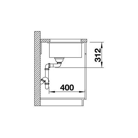 1513409 subline 500-u sabbia blanco lavello 53x46 1 vasca senza sgocciolatoio silgranit sottotop