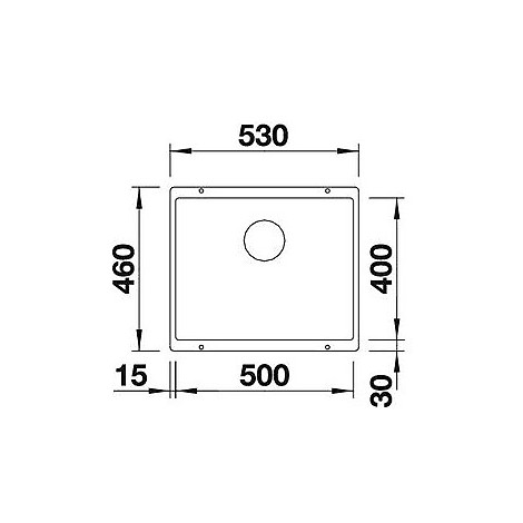 1513410 subline 500-u jasmine blanco lavello 53x46 1 vasca senza sgocciolatoio silgranit sottotop