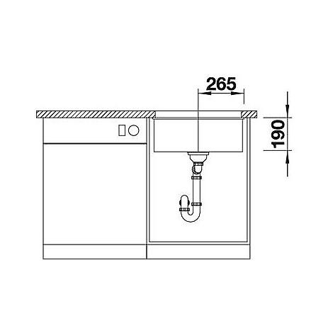 1513413 subline 500-u blanco lavello 53x46 1 vasca senza sgocciolatoio silgranit antracite