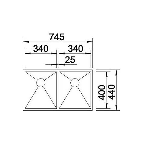 1513452 zerox 340/340-u blanco lavello 75x44 2 vasche senza sgocciolatoio inox satinato