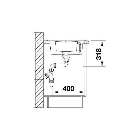 1513473 metra 6 s compact blanco lavello 78x50 2 vasche reversibile silgranit antracite