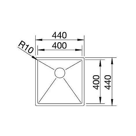1513506 clarox 400-u blanco lavello 44x44 1 vasca senza sgocciolatoio inox satinato sottotop