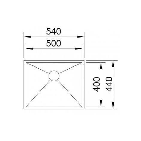 1513508 clarox 500-u blanco lavello 54x44 1 vasca senza sgocciolatoio inox satinato sottotop