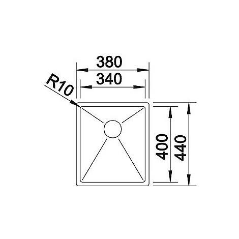 1513512 clarox 340-if blanco lavello 38x44 1 vasca senza sgocciolatoio inox satinato