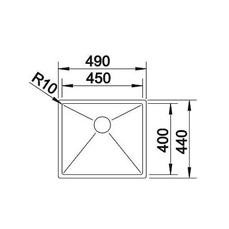 1513514 clarox 450-if blanco lavello 49x44 1 vasca senza sgocciolatoio inox satinato