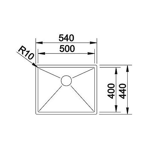1513515 clarox 500-if blanco lavello 54x44 1 vasca senza sgocciolatoio inox satinato