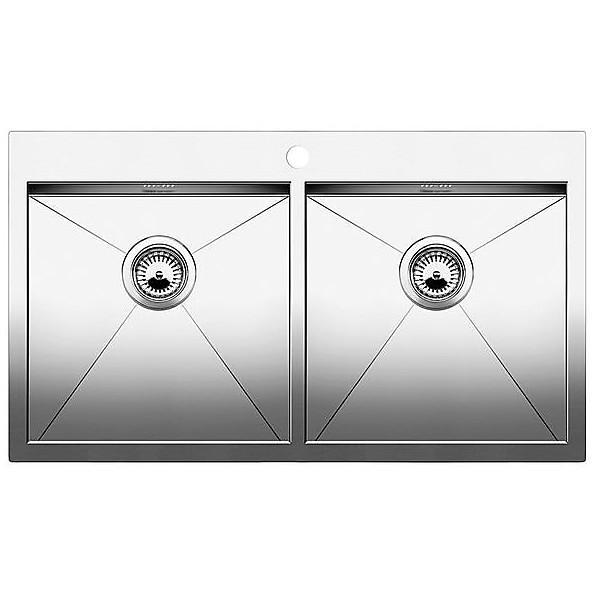 1513669 zerox 8-it blanco lavello 88,5x50 2 vasche senza sgocciolatoio inox satinato