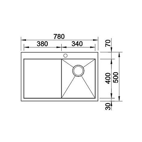 1513670 zerox 45 s-it compact blanco lavello 78x50 1 vasca sgocciolatoio a sinistra inox satinato