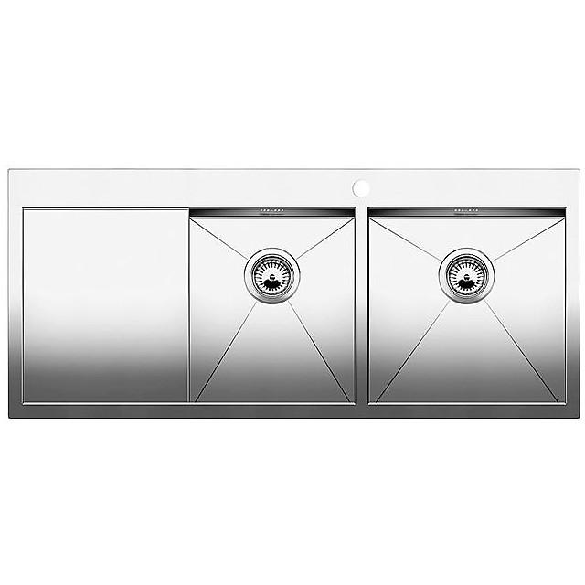 1513673 zerox 8 s-it blanco lavello 116x50 2 vasche sgocciolatoio a sinistra inox satinato