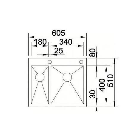 1513701 zerox 340/180-if/a r4 blanco lavello 61x51 2 vasche senza sgocciolatoio inox satinato