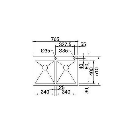 1513702 zerox 340/340-if/a r4 blanco lavello 77x51 2 vasche senza sgocciolatoio inox satinato