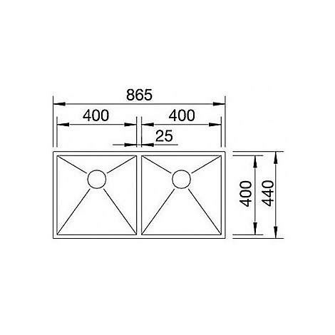 1513703 zerox 400/400-if/a r4 blanco lavello 89x51 2 vasche senza sgocciolatoio inox satinato