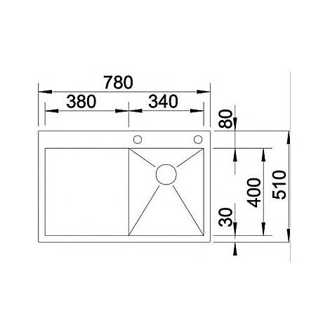 1513704 zerox 4-s-if vasca r4 blanco lavello 78x51 1 vasca sgocciolatoio a sinistra inox satinato