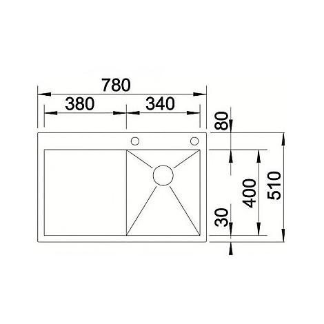 1513758 zerox 4-s-if r est 4 blanco lavello 78x51 1 vasca sgocciolatoio a destra inox satinato