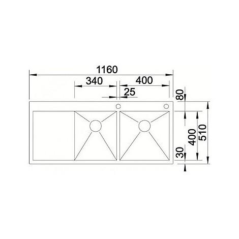1513760 zerox 8-s-if r est 4 blanco lavello 116x51 2 vasche sgocciolatoio a destra inox satinato