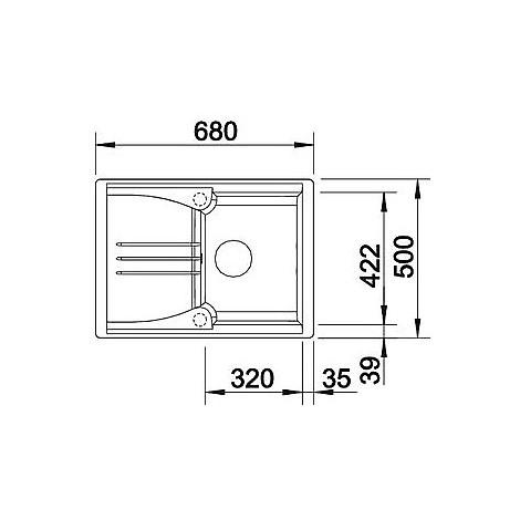 1513800 enos 40 s alumetallic blanco lavello 68x50 1 vasca reversibile silgranit sopratop