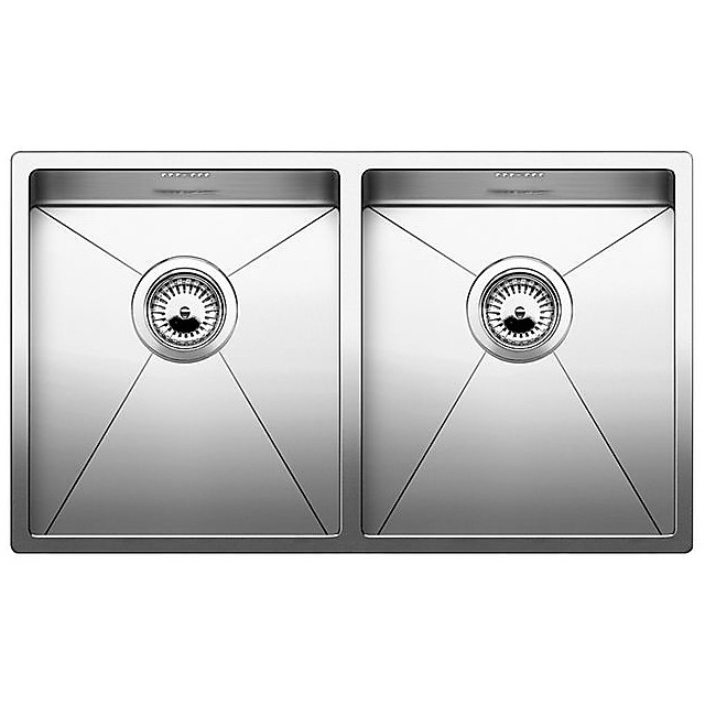 1513845 clarox 340/340-u blanco lavello 75x44 2 vasche senza sgocciolatoio inox satinato