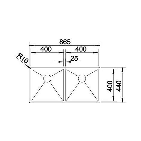 1513846 clarox 400/400-u blanco lavello 87x44 2 vasche senza sgocciolatoio inox satinato