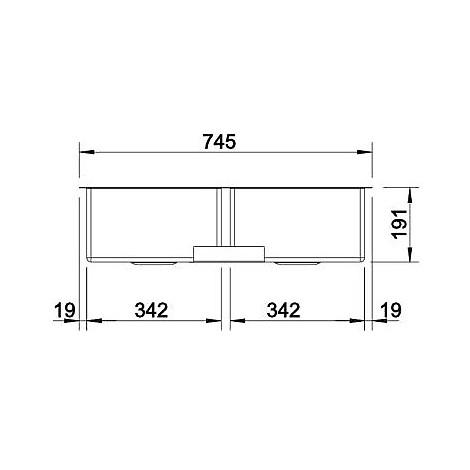 1513851 claron 340/340-u blanco lavello 75x44 2 vasche senza sgocciolatoio inox satinato