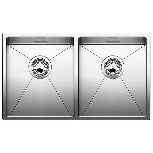 1513857 clarox 340/340-if blanco lavello 75x44 2 vasche senza sgocciolatoio inox satinato