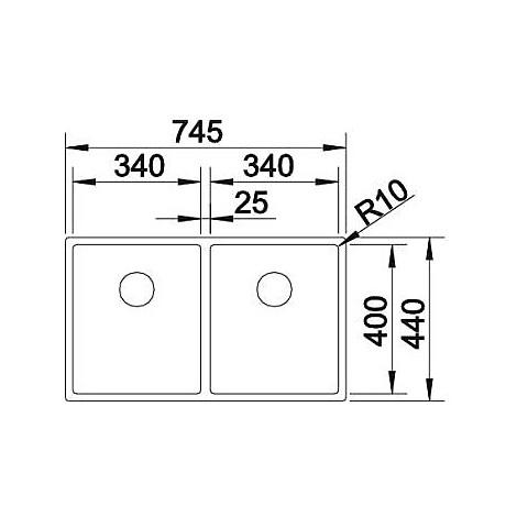 1513863 claron 340/340-if blanco lavello 75x44 2 vasche senza sgocciolatoio inox satinato