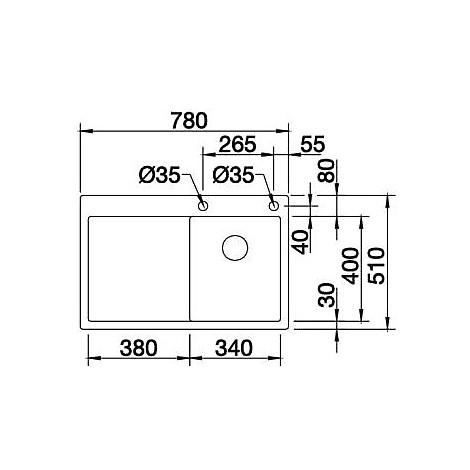 1513997 claron 4 s-if blanco lavello 78x51 1 vasca sgocciolatoio a sinistra inox satinato