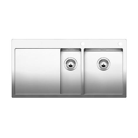1514001 claron 6 s-if blanco lavello 100x51 2 vasche sgocciolatoio a sinistra inox satinato