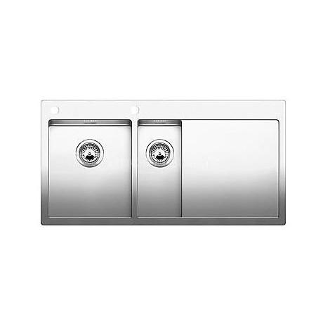 1514002 claron 6 s-if blanco lavello 100x51 2 vasche sgocciolatoio a destra inox satinato