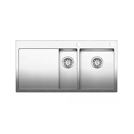 1514003 claron 8 s-if blanco lavello 116x51 2 vasche sgocciolatoio a sinistra inox satinato