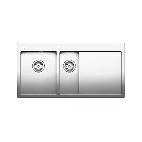 1514004 claron 8 s-if blanco lavello 116x51 2 vasche sgocciolatoio a destra inox satinato
