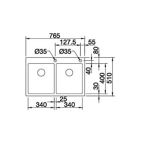 1514205 claron 340/340-if/a blanco lavello 77x51 2 vasche senza sgocciolatoio inox satinato