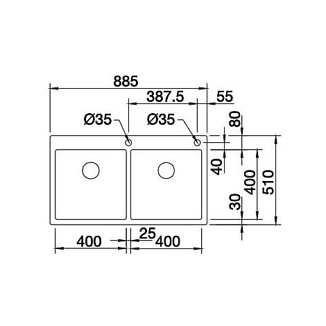1514206 claron 400/400-if/a blanco lavello 89x51 2 vasche senza sgocciolatoio inox satinato