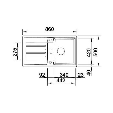1514661 lexa 45 s alumetallic blanco lavello 86x50 1 vasca reversibile silgranit