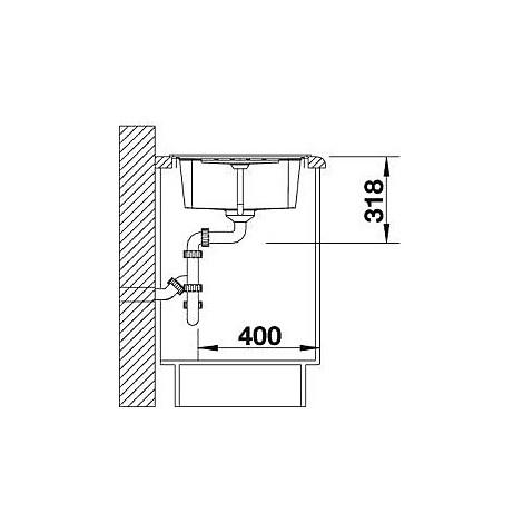 1514668 lexa 45 s antracite blanco lavello 86x50 1 vasca reversibile silgranit grigio roccia