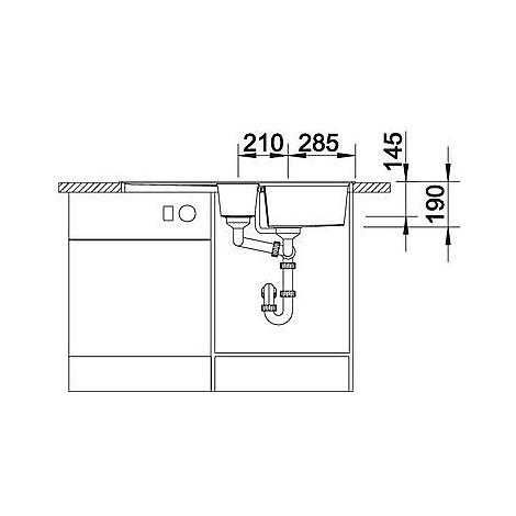 1514684 lexa 6 s antracite blanco lavello 100x50 2 vasche reversibile silgranit