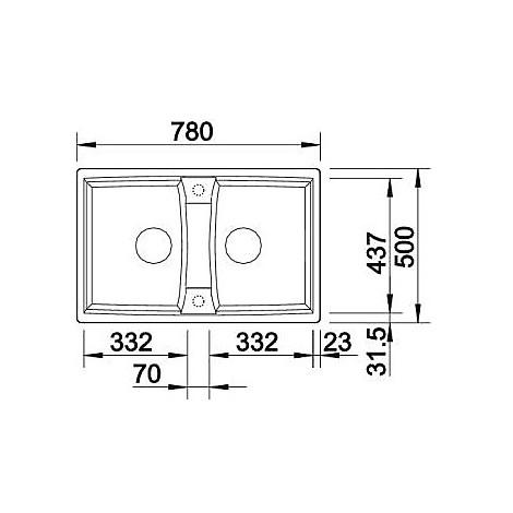 1514693 lexa 8 alumetallic blanco lavello 78x50 2 vasche senza sgocciolatoio silgranit