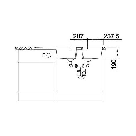 1514709 lexa 8 s alumetallic blanco lavello 116x50 2 vasche reversibile silgranit