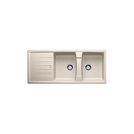 1514713 lexa 8 s sabbia blanco lavello 116x50 2 vasche reversibile silgranit