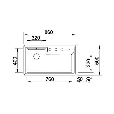1514780 plenta antracite blanco lavello 86x50 1 vasca senza sgocciolatoio silgranit sopratop